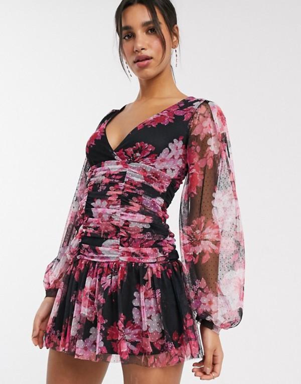 エイソス レディース ワンピース トップス ASOS DESIGN long sleeve ruched floral dobby mesh bodycon mini dress Multi