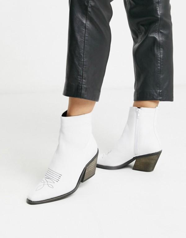 ヴェロモーダ レディース ブーツ・レインブーツ シューズ Vero Moda leather western boots Snow white
