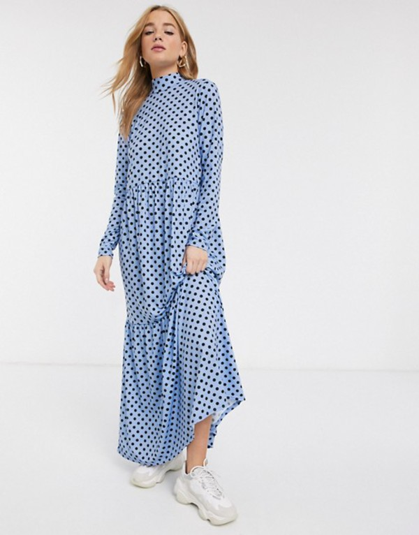 エイソス レディース ワンピース トップス ASOS DESIGN long sleeve tiered maxi dress in blue spot Blue spot