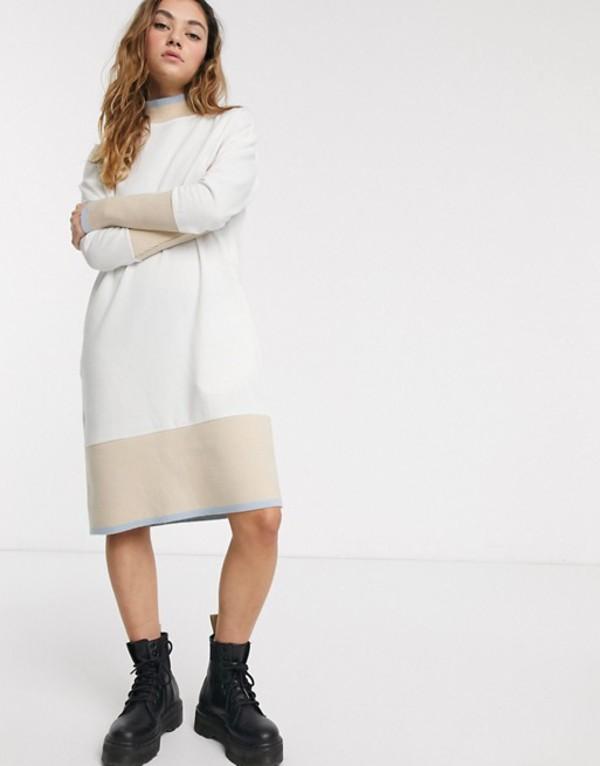 ノイジーメイ レディース ワンピース トップス Noisy May midi sweatshirt dress with contrast trims in cream Multi