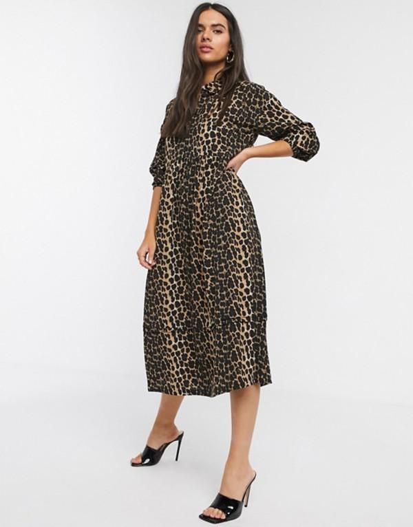ヴェロモーダ レディース ワンピース トップス Vero Moda midi shirt dress with puff sleeves in leopard print Multi