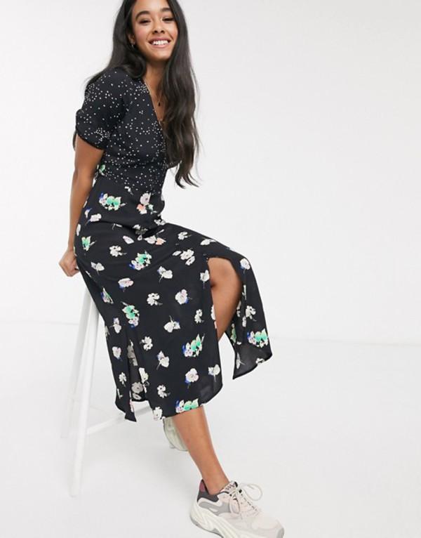 オアシス レディース ワンピース トップス Oasis floral patchwork midi dress in black Multi black