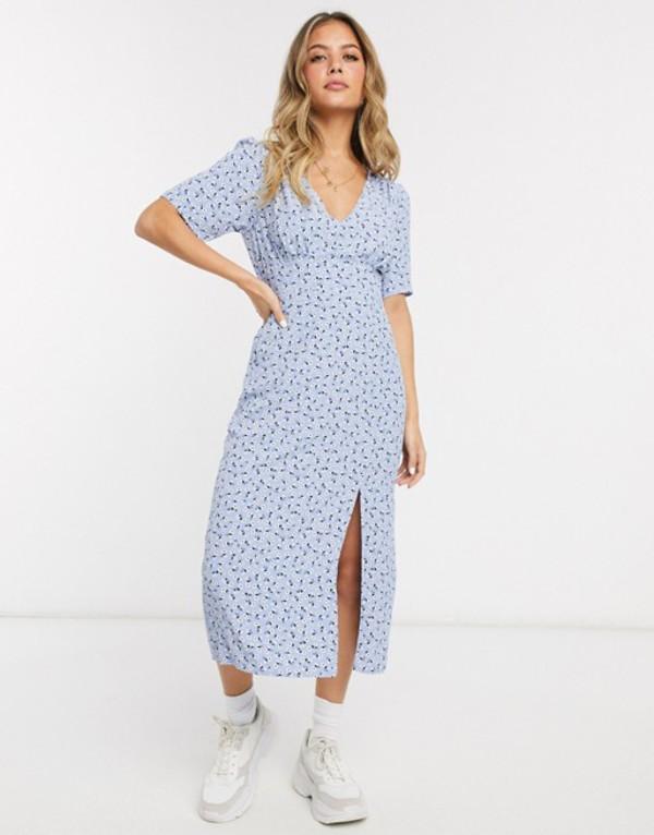 ミスセルフフリッジ レディース ワンピース トップス Miss Selfridge midi tea dress in blue floral Blue floral
