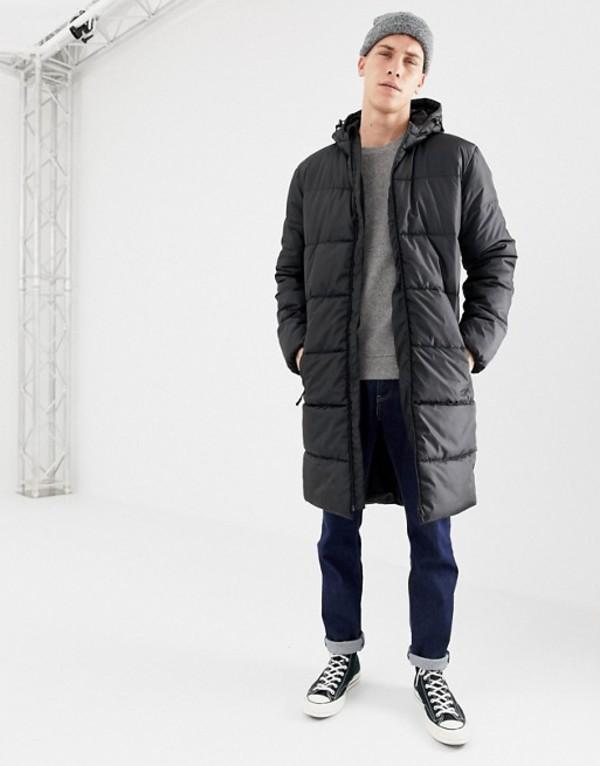 ディーストラクト メンズ ジャケット・ブルゾン アウター D-Struct Long Puffer Jacket Black