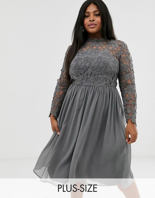 チチロンドン レディース ワンピース トップス Chi Chi London Plus lace midi dress in charcoal gray Charcoal gray