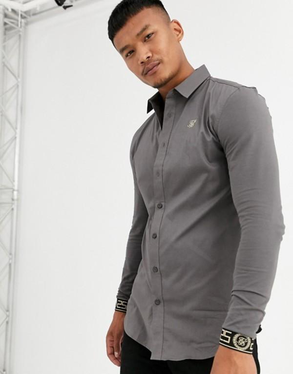 シックシルク メンズ シャツ トップス SikSilk muscle fit long sleeve shirt in gray with cuff embroidery Gray