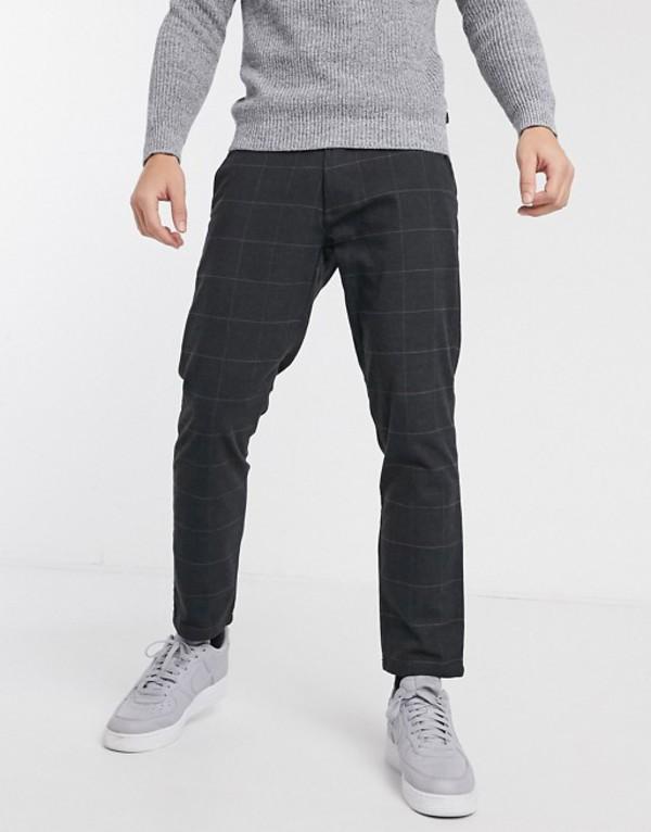 エスプリ メンズ カジュアルパンツ ボトムス Esprit window check pants in gray Gray