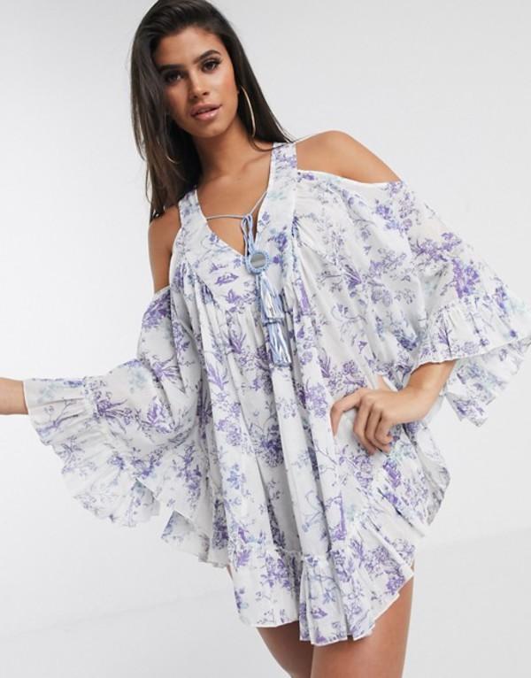 エイソス レディース ワンピース トップス ASOS DESIGN cold shoulder lilac print beach dress with mirror detail Lilac floral