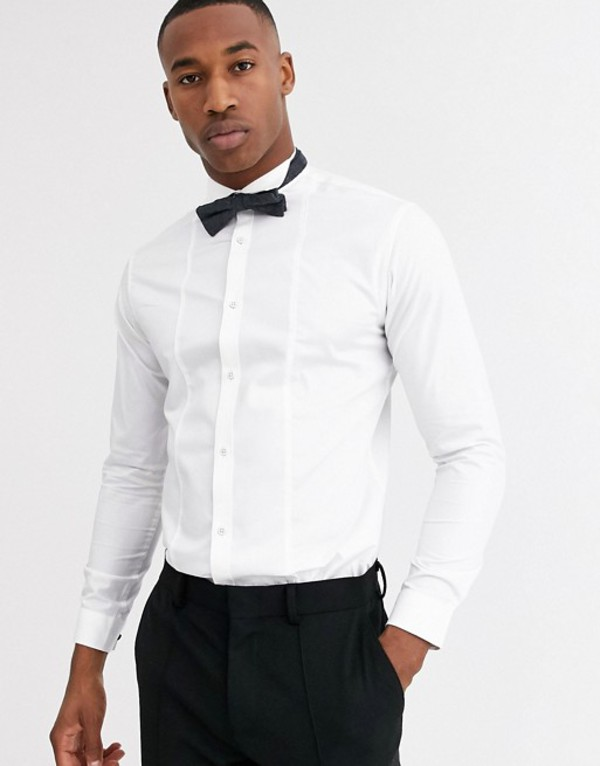 ジャック アンド ジョーンズ メンズ シャツ トップス Jack & Jones Premium textured bib tux shirt in white White