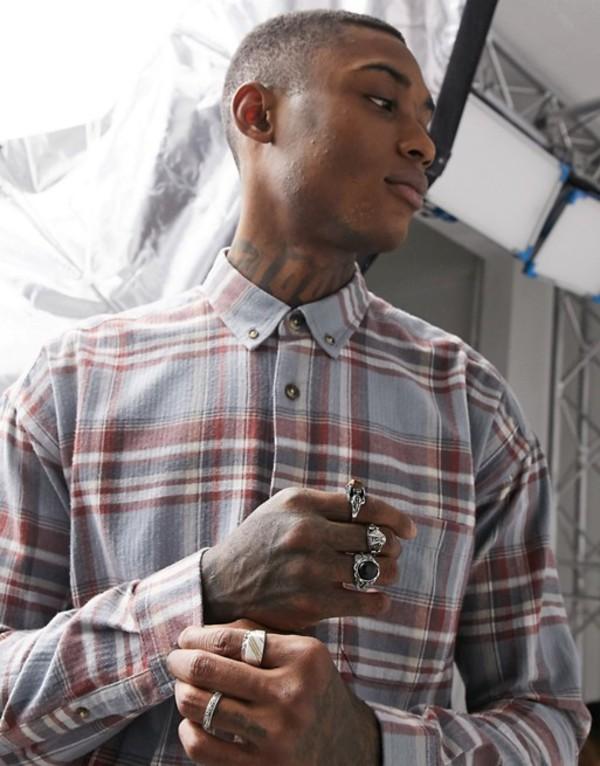 エイソス メンズ シャツ トップス ASOS DESIGN 90s oversized check shirt in blue Blue