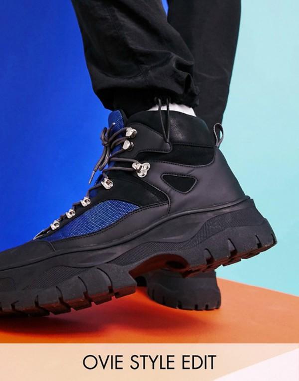 エイソス メンズ ブーツ・レインブーツ シューズ ASOS DESIGN lace up hiker boots in gray faux suede on chunky sole Gray