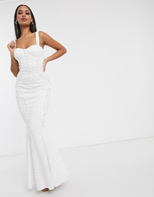 エイソス レディース ワンピース トップス ASOS DESIGN Premium extreme lace up cami maxi dress White