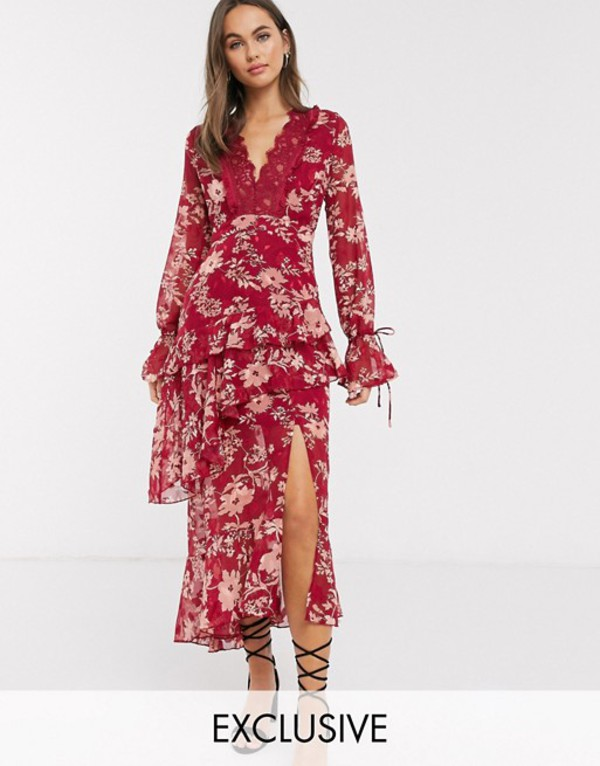 ダークピンク レディース ワンピース トップス Dark Pink plunge ruffle maxi dress with lace insert in red jacquard floral Red floral