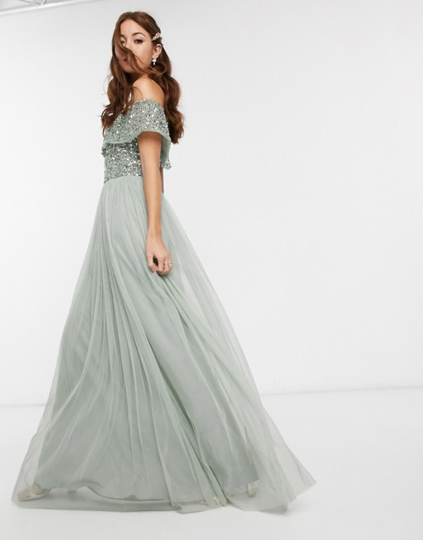 マヤ レディース ワンピース トップス Maya Bridesmaid bardot maxi tulle dress with tonal delicate sequins in sage green Green lily