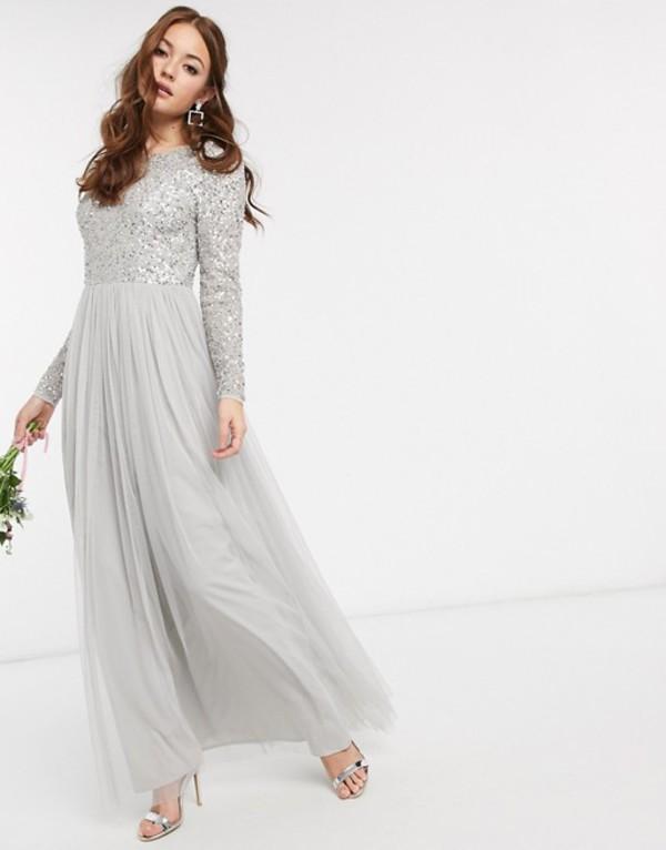 マヤ レディース ワンピース トップス Maya Bridesmaid long sleeve v back maxi tulle dress with tonal delicate sequin in silver Gray