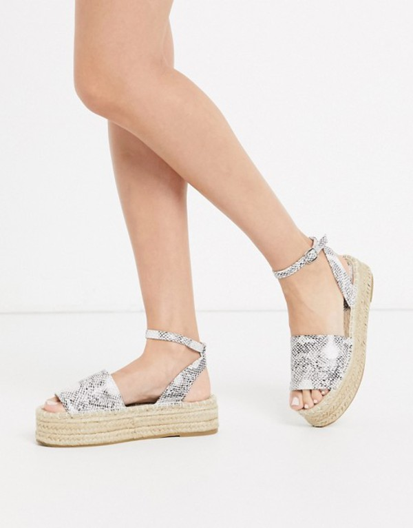 サウスビーチ レディース サンダル シューズ South Beach flatform espadrille sandals in snake Snake