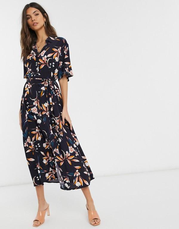 フレンチコネクション レディース ワンピース トップス French Connection button through floral midi shirt dress Blue multi