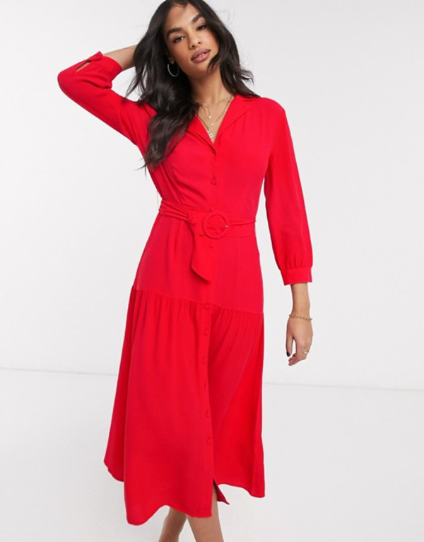 ウエアハウス レディース ワンピース トップス Warehouse tiered lapel midi dress Red