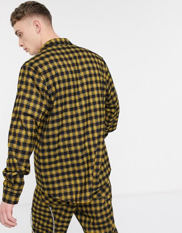 ザラグドプリースト メンズ シャツ トップス The Ragged Priest shirt in yellow check Yellow/ black check