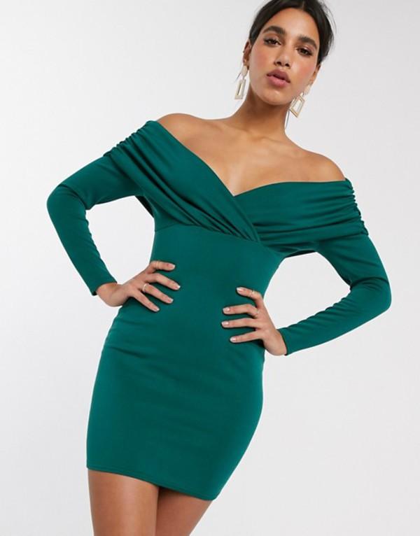 エイソス レディース ワンピース トップス ASOS DESIGN scuba bardot ruched side long sleeve mini dress Forest green