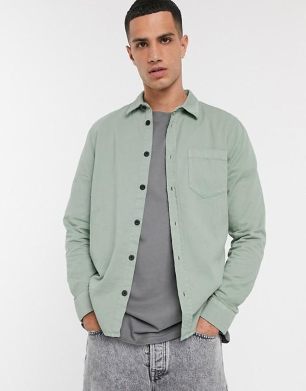 ヌーディージーンズ メンズ シャツ トップス Nudie Jeans Co Henry one pocket shirt in pale green Green