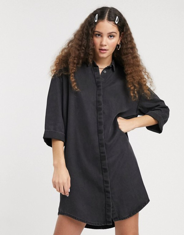 モンキ レディース ワンピース トップス Monki mini denim shirt dress in black Black
