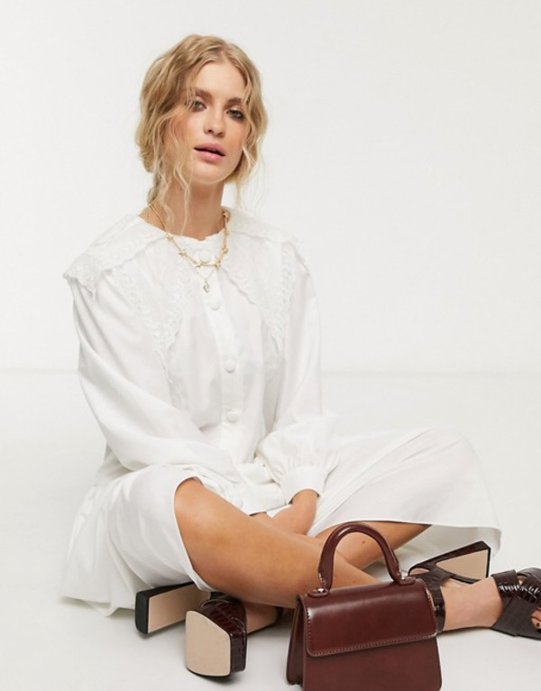 シスタージュン レディース ワンピース トップス Sister Jane midi shirt dress with vintage bib collar in cotton White