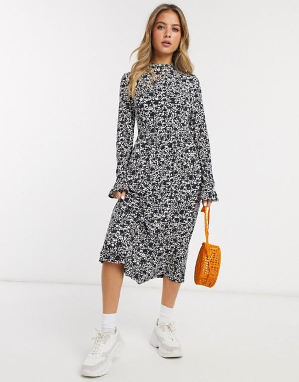 ミスセルフフリッジ レディース ワンピース トップス Miss Selfridge midi swing dress in black and white print Black