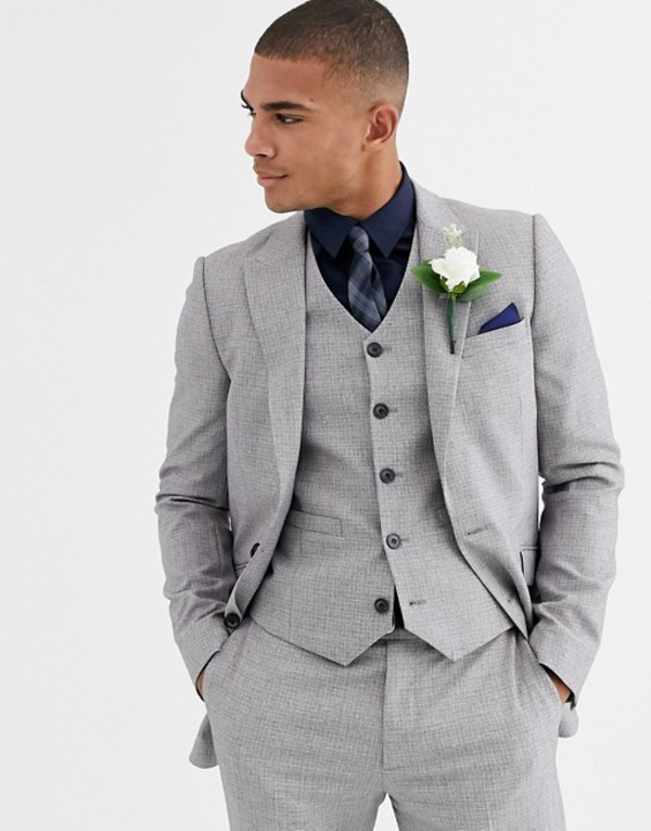 エイソス メンズ ジャケット・ブルゾン アウター ASOS DESIGN wedding skinny suit jacket in crosshatch in gray Gray