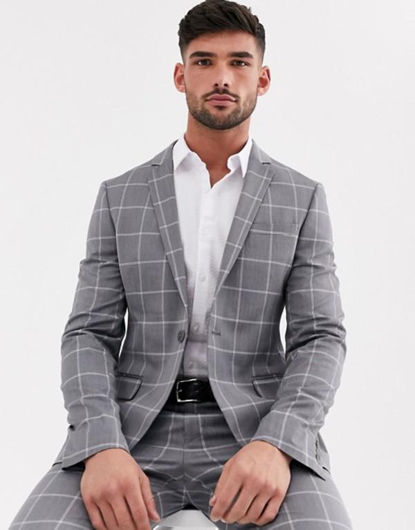 エイソス メンズ ジャケット・ブルゾン アウター ASOS DESIGN super skinny suit jacket in light gray windowpane check Gray