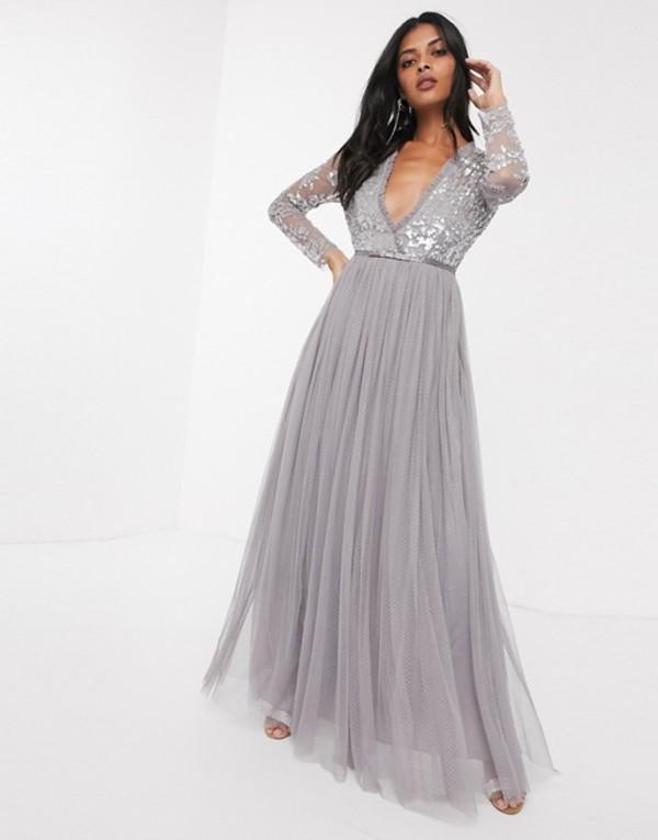 ニードルアンドスレッド レディース ワンピース トップス Needle & Thread sequin bodice maxi dress in gray Gray