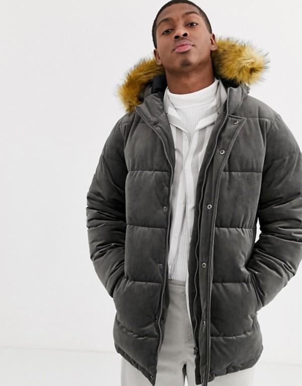 デビルズ アドボケート メンズ コート アウター Devils Advocate premium velvet padded faux fur jacket Gray
