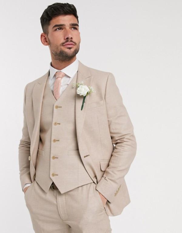 エイソス メンズ ジャケット・ブルゾン アウター ASOS DESIGN wedding skinny suit jacket in micro texture in camel Camel