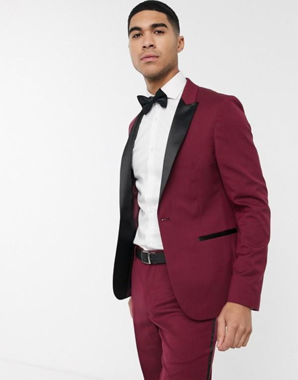 エイソス メンズ ジャケット・ブルゾン アウター ASOS DESIGN skinny tuxedo suit jacket in burgundy Burgundy