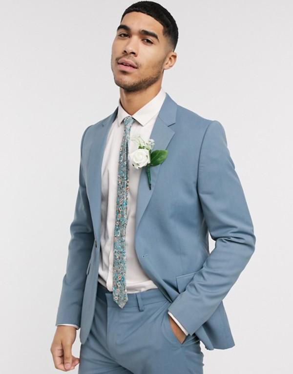 エイソス メンズ ジャケット・ブルゾン アウター ASOS DESIGN wedding skinny suit jacket in soft blue Blue