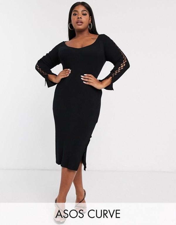 エイソス レディース ワンピース トップス ASOS DESIGN Curve ribbed midi dress with v neck and lace up sleeve detail Black