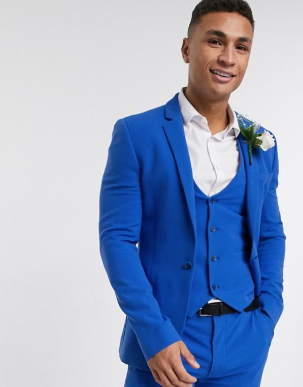 エイソス メンズ ジャケット・ブルゾン アウター ASOS DESIGN super skinny suit jacket in bright blue Bright blue