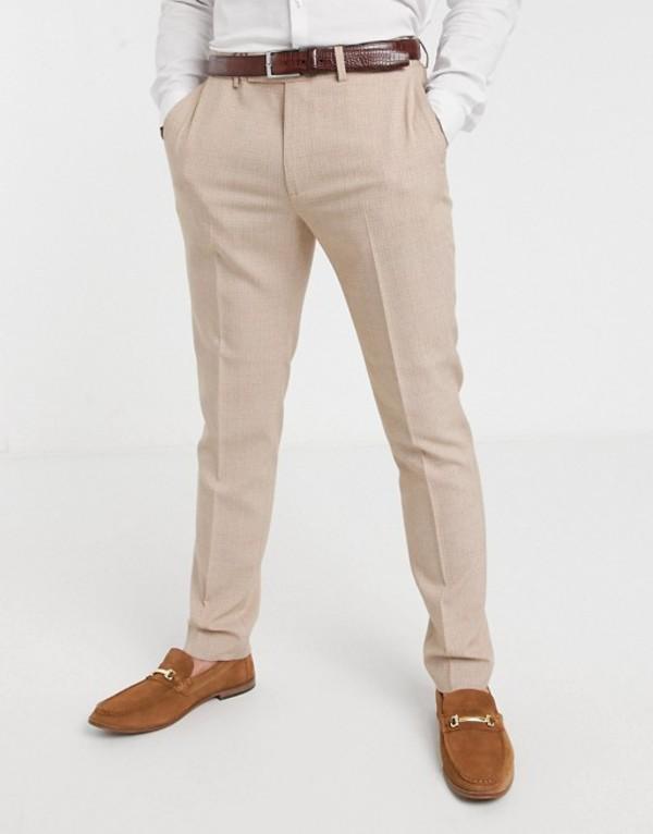 エイソス メンズ カジュアルパンツ ボトムス ASOS DESIGN wedding skinny suit pants in crosshatch in camel Camel