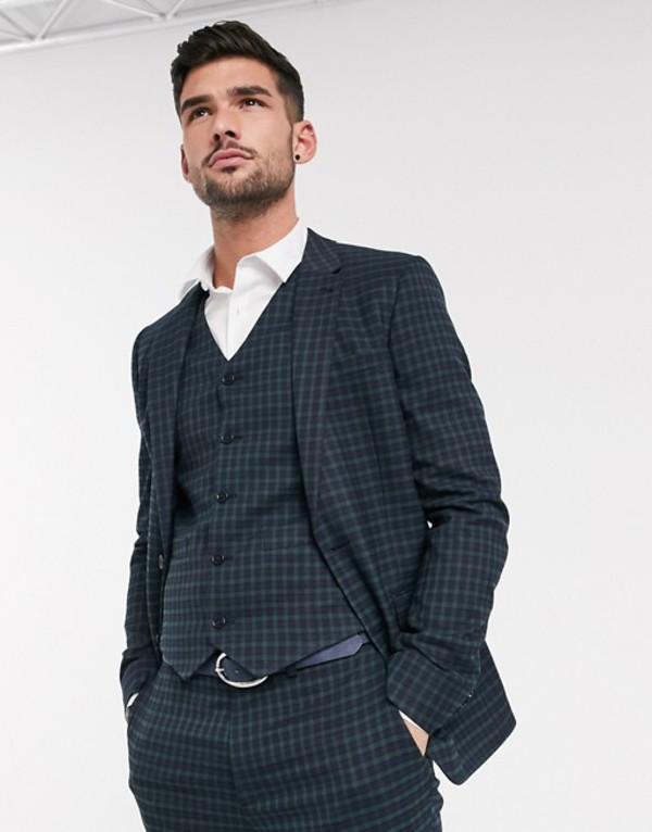エイソス メンズ ジャケット・ブルゾン アウター ASOS DESIGN skinny suit jacket in mini blackwatch plaid check in navy and green Navy
