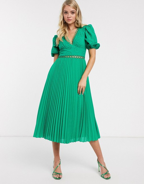 エイソス レディース ワンピース トップス ASOS DESIGN broderie pleated midi tea dress with puff sleeve in emerald green Emerald green