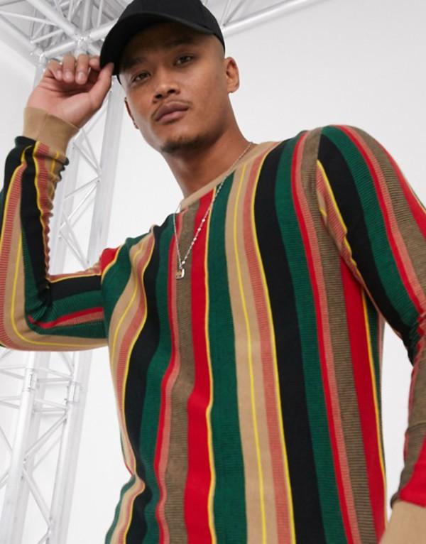 エイソス メンズ ニット・セーター アウター ASOS DESIGN sweater in textured vertical stripe in green and red Multi