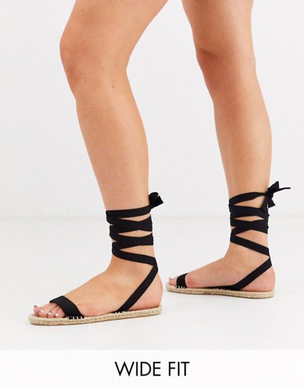 エイソス レディース サンダル シューズ ASOS DESIGN Wide Fit Juniper espadrille flat sandals in black Black