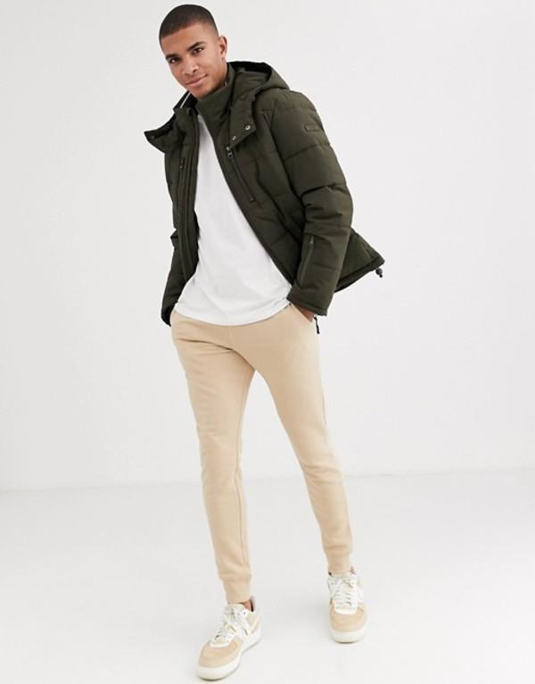 エスプリ メンズ ジャケット・ブルゾン アウター Esprit puffer jacket with hood in khaki Green