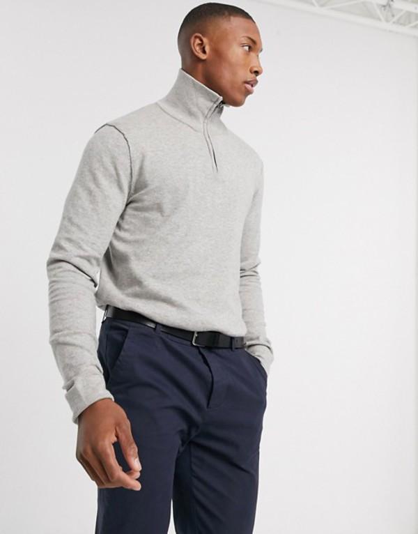 ジャック アンド ジョーンズ メンズ ニット・セーター アウター Jack & Jones Premium quarter zip knitted sweater in gray Light gray melange