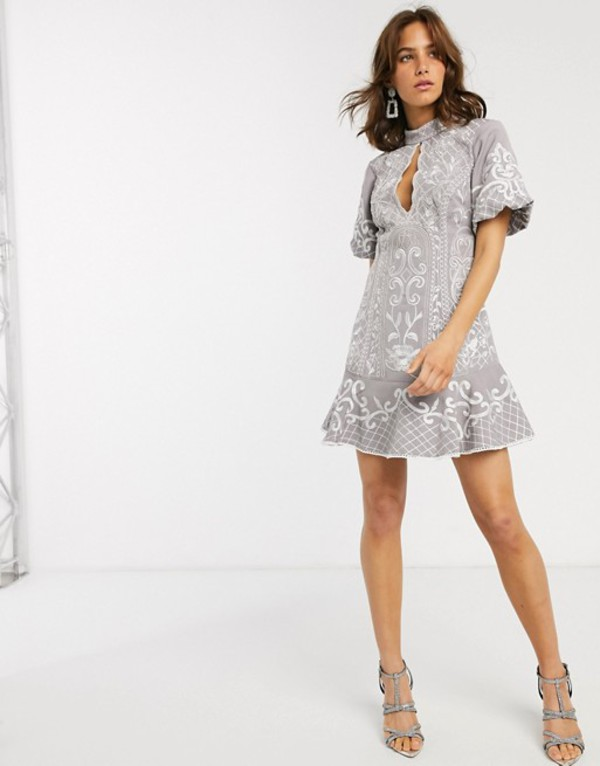 エイソス レディース ワンピース トップス ASOS DESIGN embroidered mini dress with keyhole and pep hem Gray
