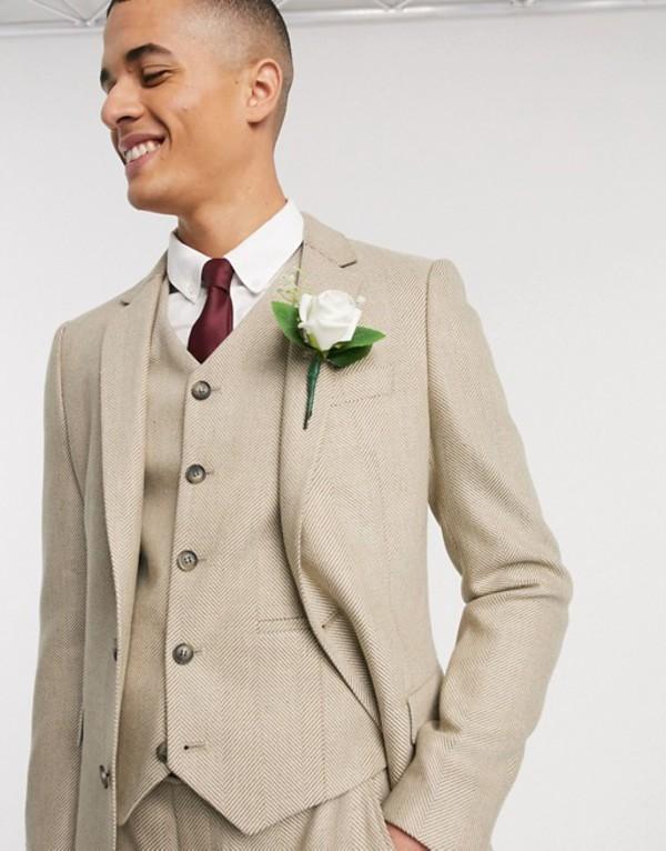 エイソス メンズ ジャケット・ブルゾン アウター ASOS DESIGN wedding slim suit jacket in wool mix herringbone in camel Camel