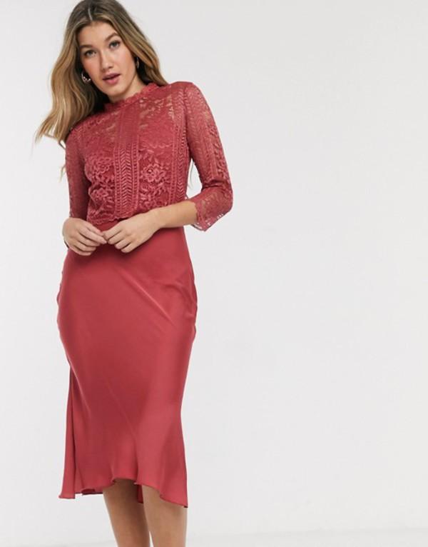 リトルミストレス レディース ワンピース トップス Little Mistress satin and lace midi dress in rose Rose