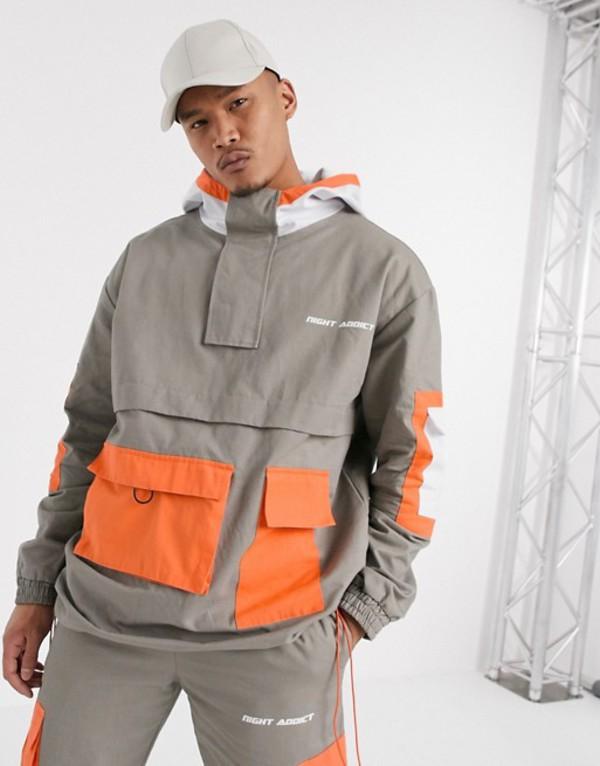 ナイト アディクト メンズ コート アウター Night Addict pull over cargo tracksuit coat Slate/orange