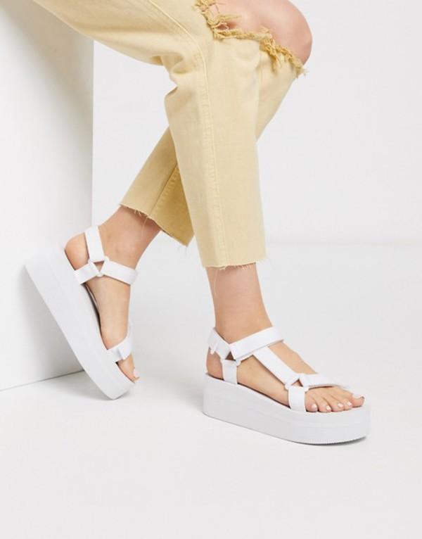 トリュフコレクション レディース サンダル シューズ Truffle Collection sporty flatform sandal in white White