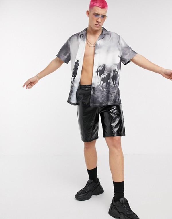 エイソス メンズ ハーフパンツ・ショーツ ボトムス ASOS DESIGN relaxed shorts in leather look fabric Black